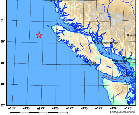 Magnitude 4.9 earthquake strikes off Vancouver Island