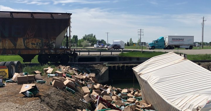 No injuries in collision between train and semi truck east of Lethbridge Friday morning