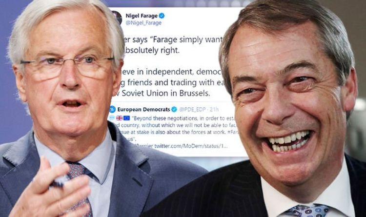 'Barnier was RIGHT!' Farage AGREES with EU chief in cheeky Tweet before tearing EU apart