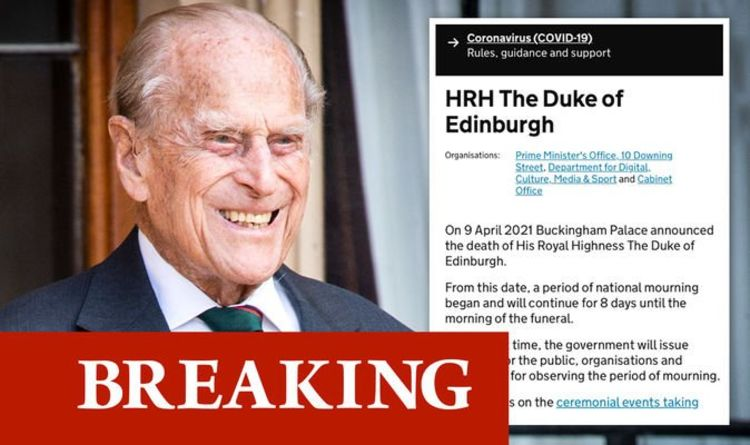 Prince Philip funeral date leaked on No10 website in Whitehall blunder –quickly deleted