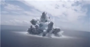 Staggering video shows moment huge ocean bomb explodes and triggers earthquake