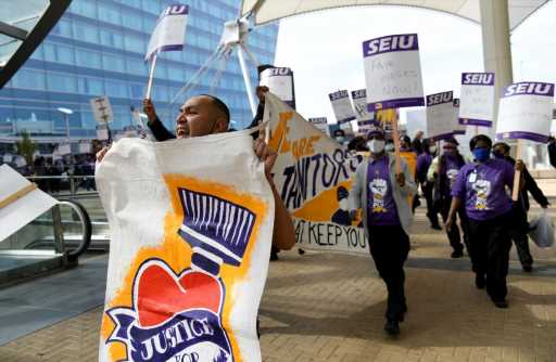Denver airport janitors are on strike for higher wages