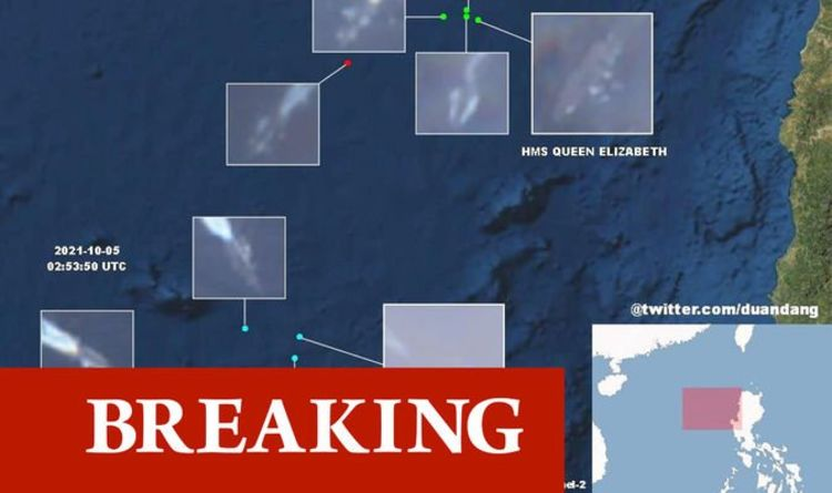 South China Sea clash ERUPTS: Chinese vessel shadows UK and US carriers in satellite pics